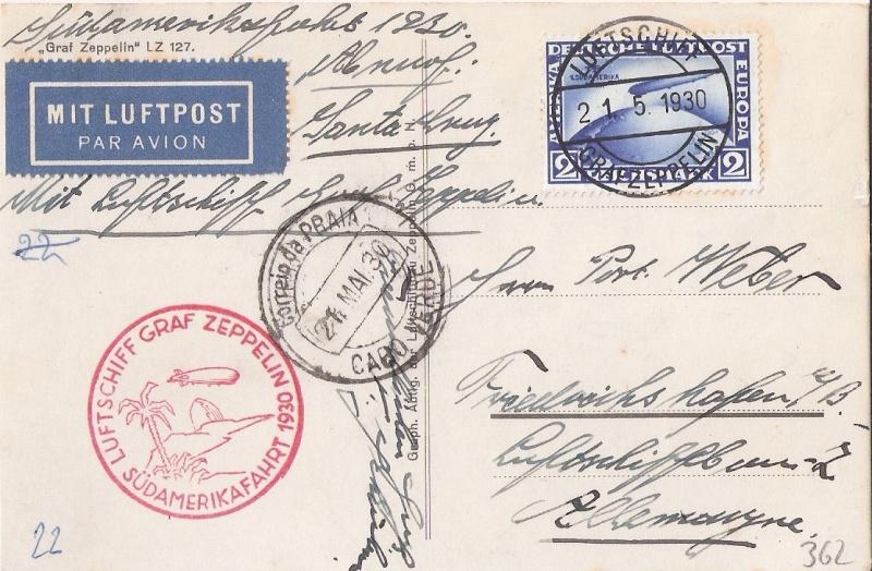 nach - Südamerikafahrt 1930, Post nach Praia (Kapverdische Inseln) Weber_10