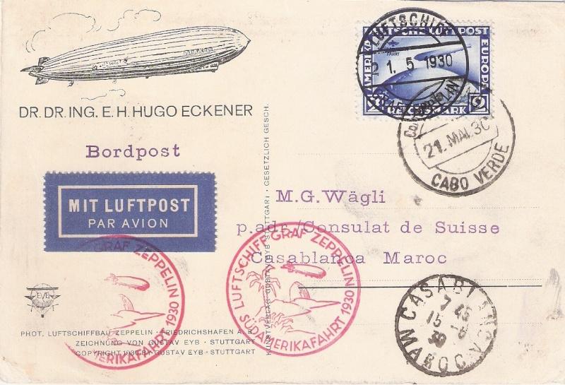 nach - Südamerikafahrt 1930, Post nach Praia (Kapverdische Inseln) Wygli10