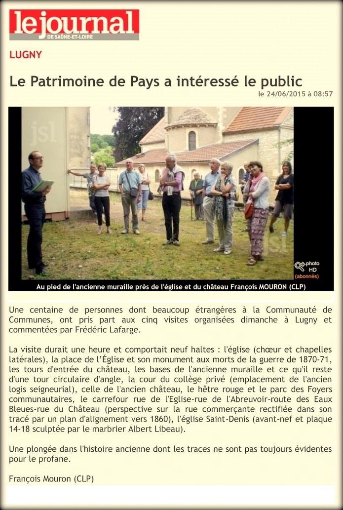 """Le patrimoine de pays a intéressé le public"""" (""""Le JSL"""" du mer 24.06.2015) Le_pat10"""
