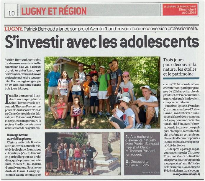 """Lugny : """"Aventur'land : s'investir avec les adolescents"""" (Le JSL du dimanche 9 août 2015) Lugny_16"""