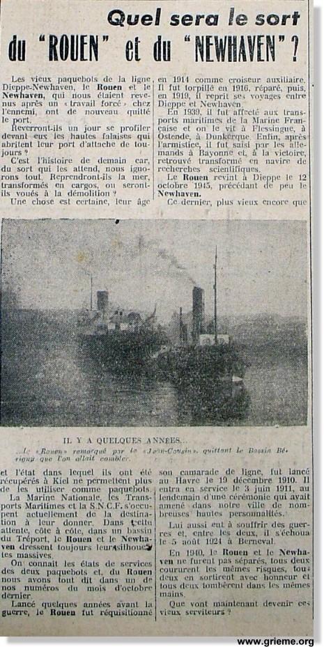 Navires français à Ostende mai 1940 Rouen210