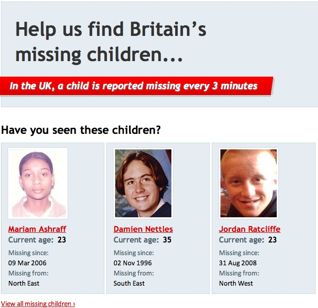 Missing People - and Missingkids, a CEOPS site, posting details of non existent person Missin10