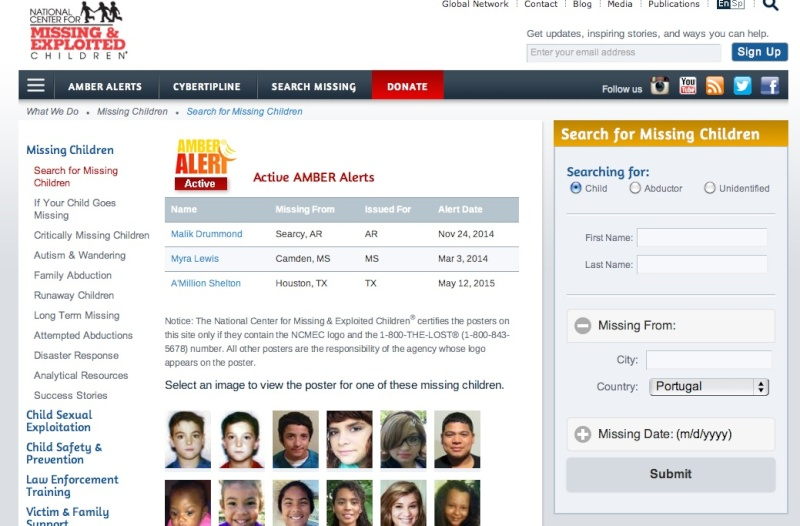 Missing People - and Missingkids, a CEOPS site, posting details of non existent person Missin12