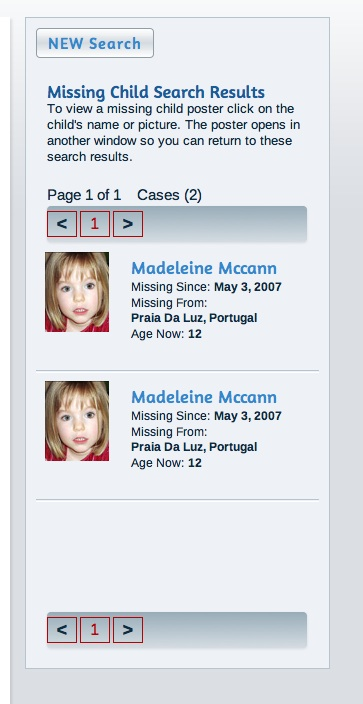 Missing People - and Missingkids, a CEOPS site, posting details of non existent person Missin13