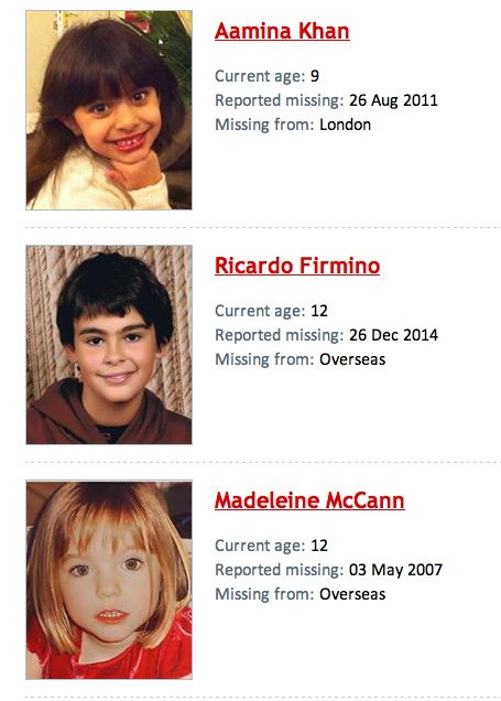 Missing People - and Missingkids, a CEOPS site, posting details of non existent person Mm_j12
