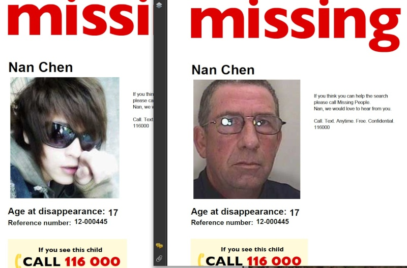 Missing People - and Missingkids, a CEOPS site, posting details of non existent person Nancha10