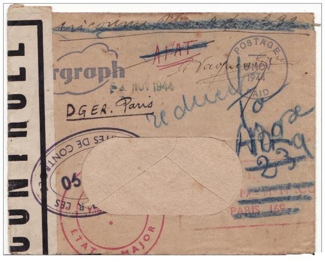 censure de la 3°période AG 190  sur lettre de Liège pour Paris. Ag_19010