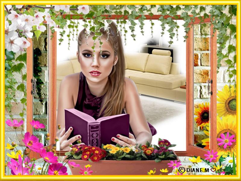 Cadre fenêtre, lierre, fleurs Myriam73