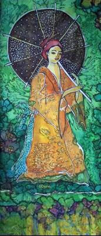 Femme au parasol & pont, temple Soie_f10
