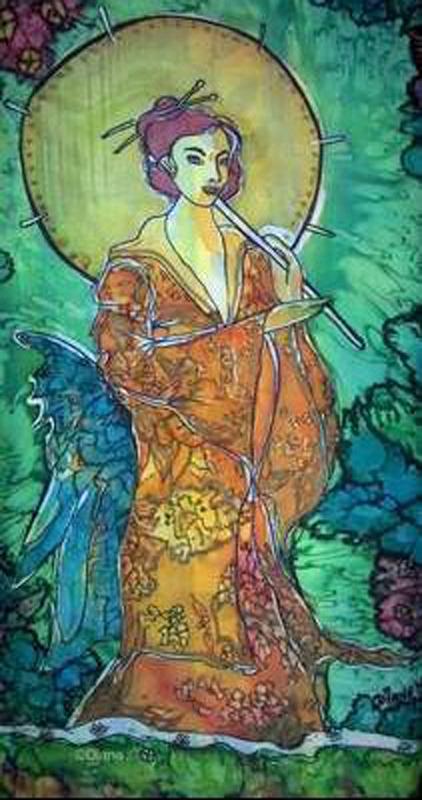 Femme au parasol & pont, temple Soie_f11