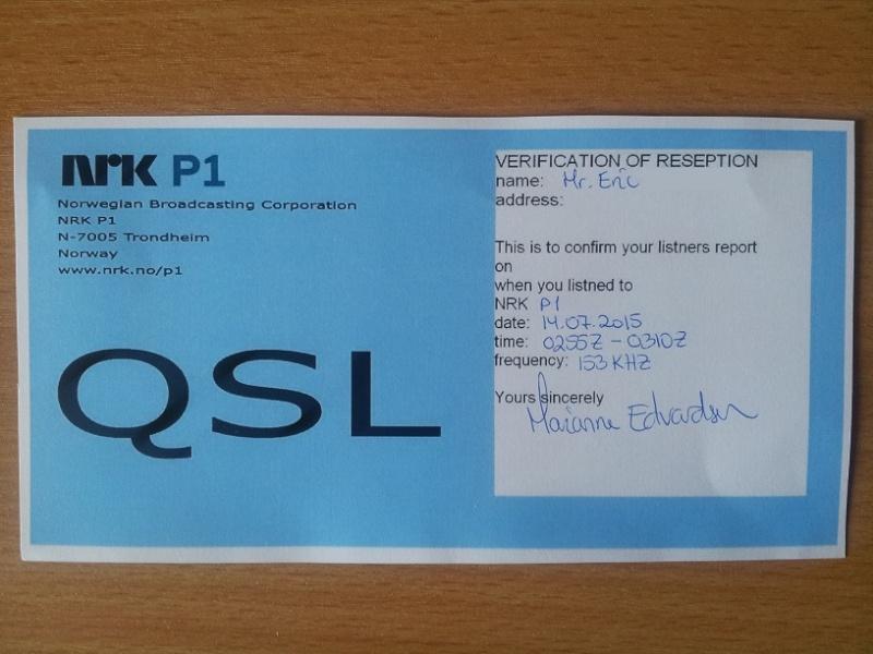QSL de NRK p1 en MW 20150714