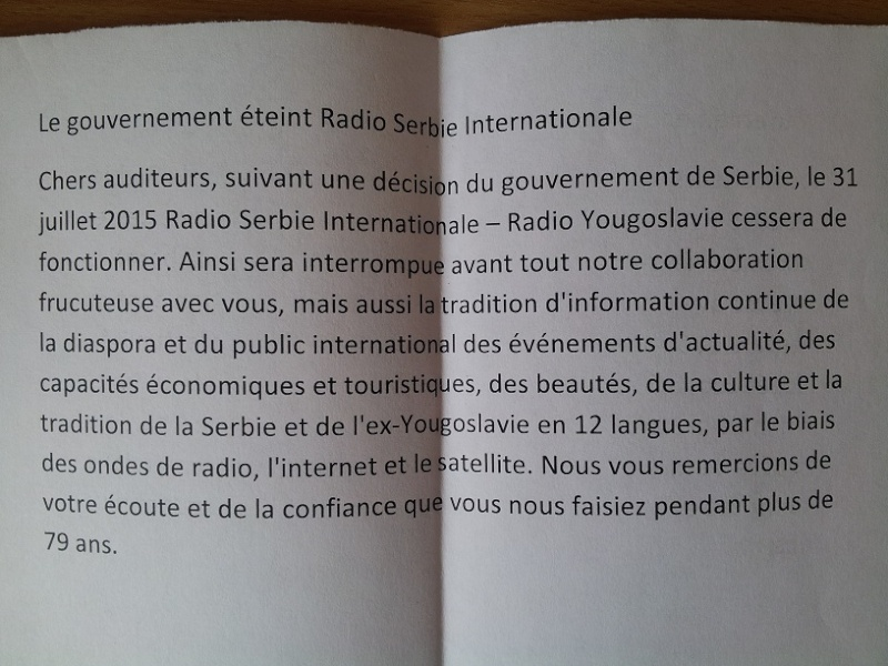 QSL DE radio Serbie internationale  20150812