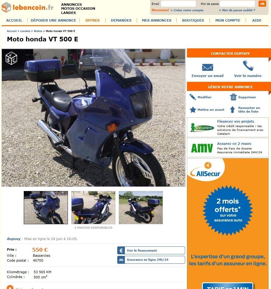 """Honda 500 VTE """"Grand Tourisme"""" Vte10"""