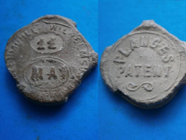 """033 - Plombs de scelles """" Walzenmühle Wilheimsburg – Diamant Mehl"""". Plomb307"""