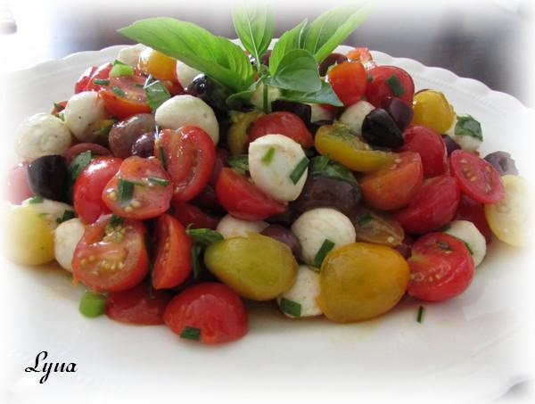 Salade de tomates cerises, mini bocconcini et olives Kalamata Salade16