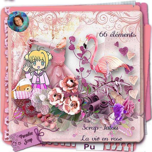 """Kit """" La vie en rose """"  Scrapt46"""