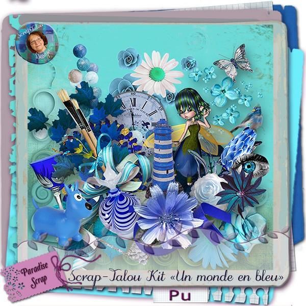 """Kit """"Un monde en bleu""""  Srapta12"""