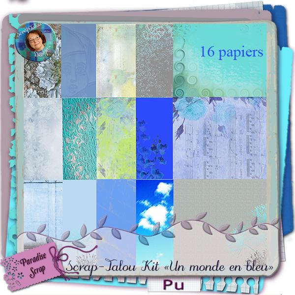 """Kit """"Un monde en bleu""""  Srapta13"""