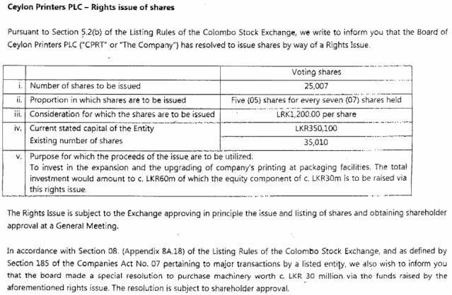 Ceylon Printers PLC  Rights Issue 5:7 @ Rs. 1,200.00 Cprt10