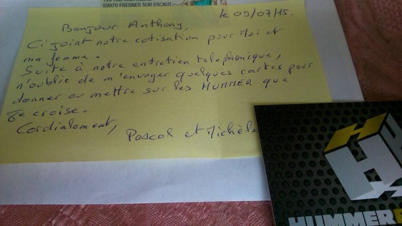 Lettres et mots de remerciement pour le club Hummerbox des adhérents.  Merci à tous 11061110