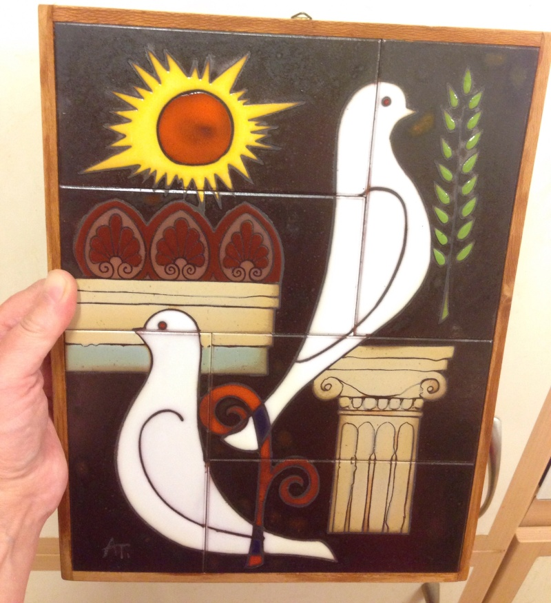 Ceramic tile picture with doves - Greece Image278
