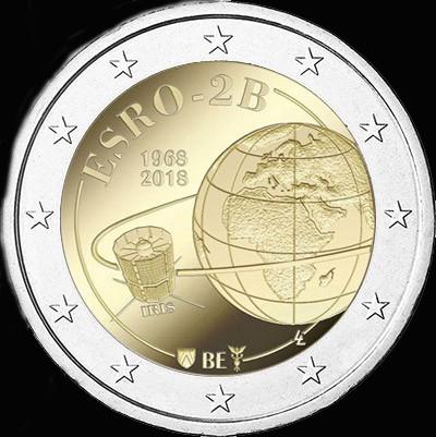 Belgique / Pièce de 2 uros 50 ans satellite ESRO-2B 2018_034