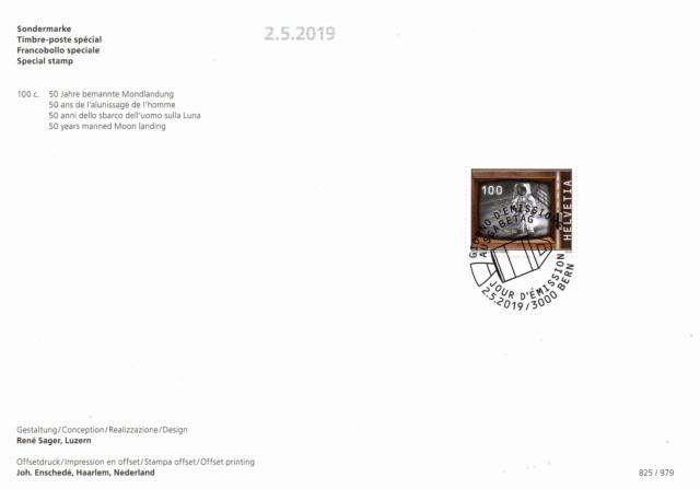 [Philatélie 50 ans Apollo 11] Emission d'un timbre par la Suisse / mai 2019 2019_024