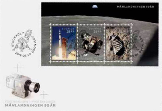 [Philatélie 50 ans Apollo 11] Emission d'un bloc-feuillet par la Suède / mai 2019 Captur13