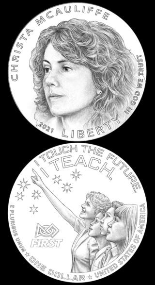 2021 - Pièce de 1$ argent commémorant Christa McAuliffe et les 35 ans de la catastrophe de Challenger Mcauli10