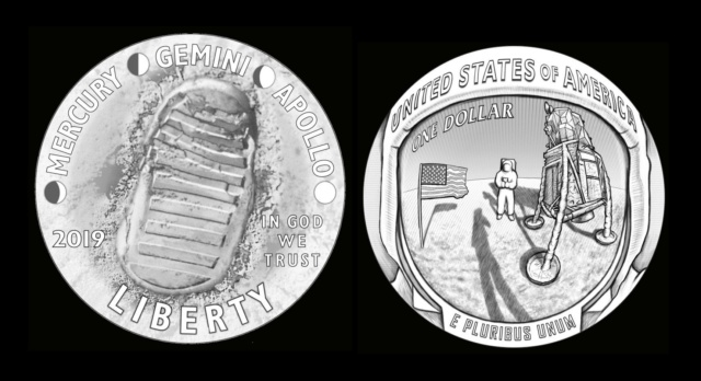 Pièce de 1$ argent commémorant les 50 ans d'Apollo 11/ mise en circulation en janvier 2019 Pice310