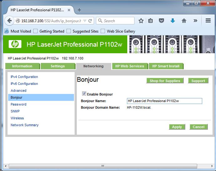 Cài đặt HP LaserJet P1102w để in qua mạng không dây Screen20