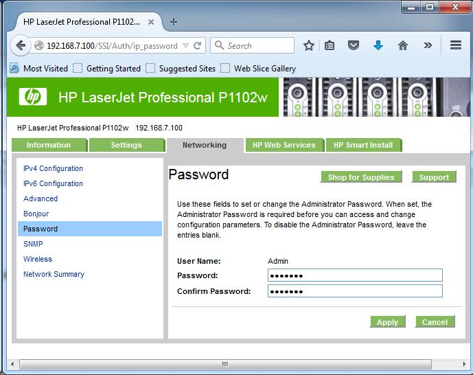 Cài đặt HP LaserJet P1102w để in qua mạng không dây Screen21