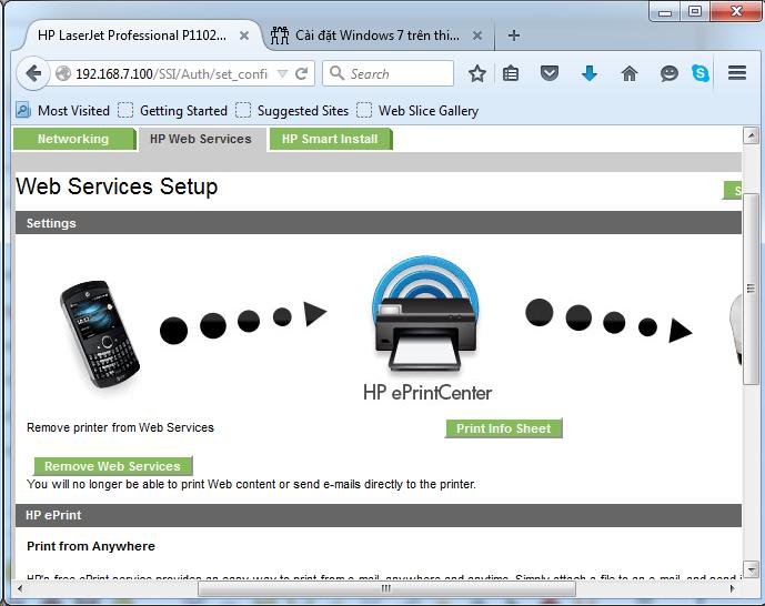 Cài đặt HP LaserJet P1102w để in qua mạng không dây Screen27