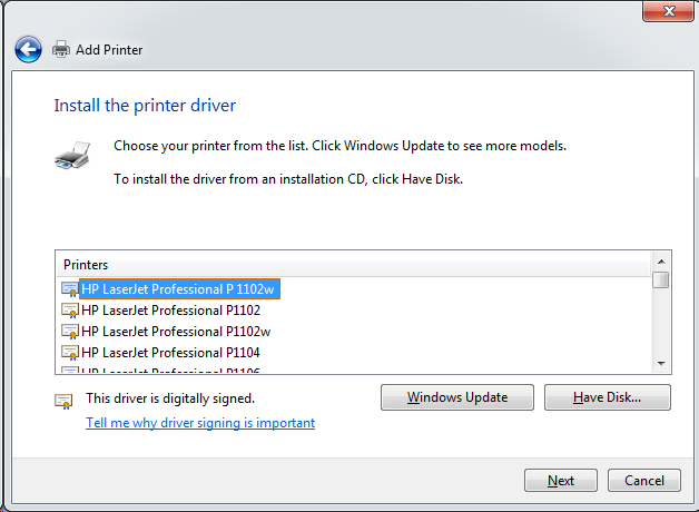 Cài đặt HP LaserJet P1102w để in qua mạng không dây Screen44