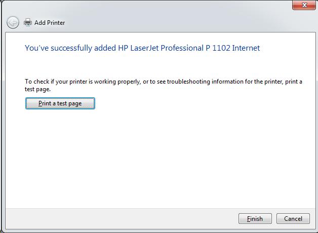 Cài đặt HP LaserJet P1102w để in qua mạng không dây Screen48