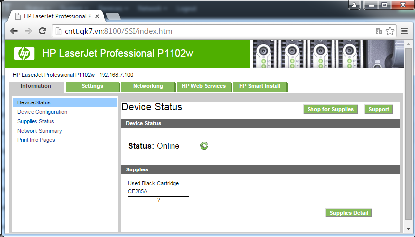 Cài đặt HP LaserJet P1102w để in qua mạng không dây Screen54