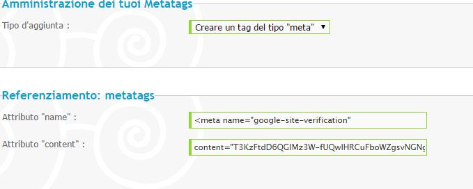 Google, aggiungere il Forum ad esso e verificare metatag Due10
