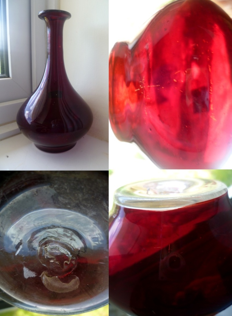 Clear and red glass narrow neck - blenko form Ablenk10