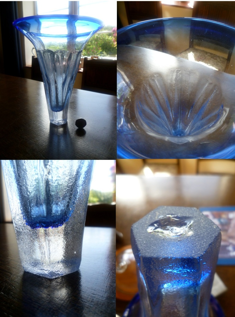 9.5 inch dimpled hammer finish vase - Dubious base - Dartington like Ad10