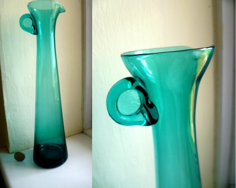 Stylish narrow neck jug / carafe - tiny circular handle on top Adec10