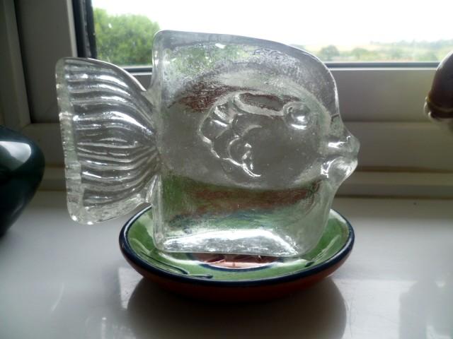Scandinavian Glass Fish Paperweight relief block with extending tail Afishd10