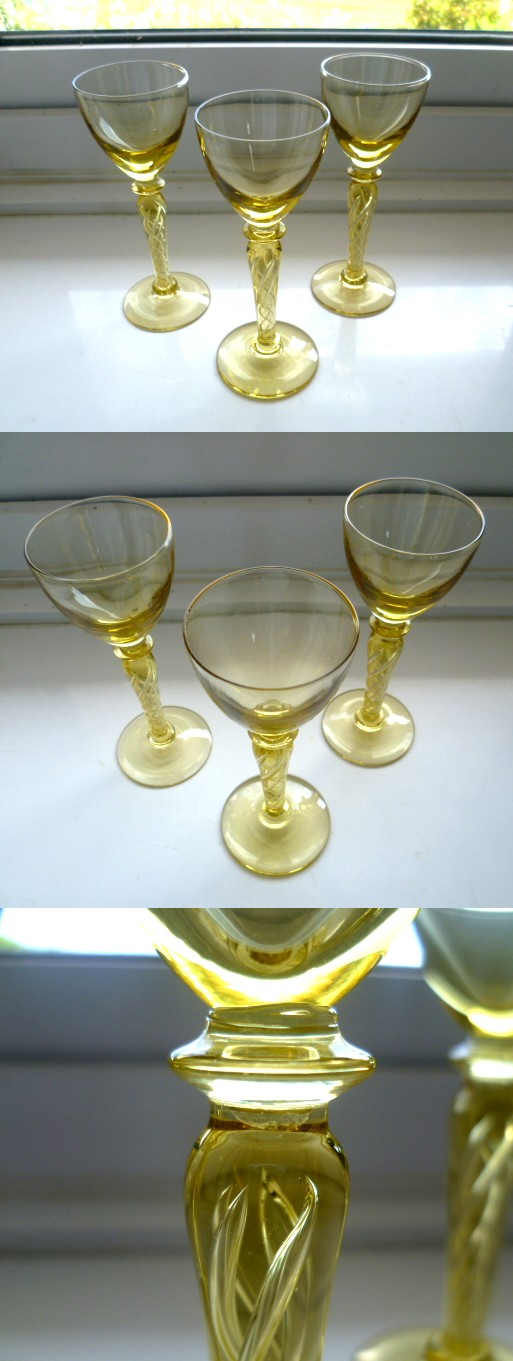 3 Gold Air Twist Stem Gold Glass Sherry Glasses Air10