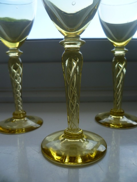 3 Gold Air Twist Stem Gold Glass Sherry Glasses Air210