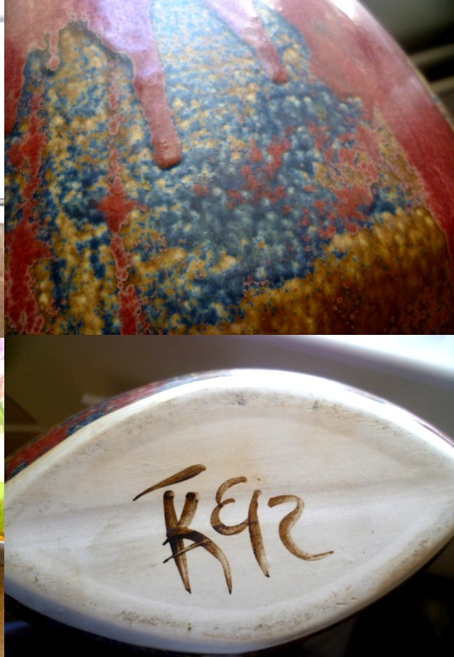 A WOW Piece of studio pottery - painted monogram Aspear12