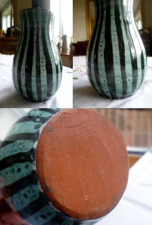 Little 15cm Red Earthenware Vase - David Sharp style decoration Avase10