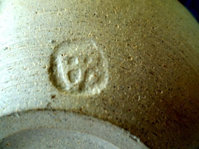 Stoneware inner glazed bowl - having trouble with the impressed mark Bp10