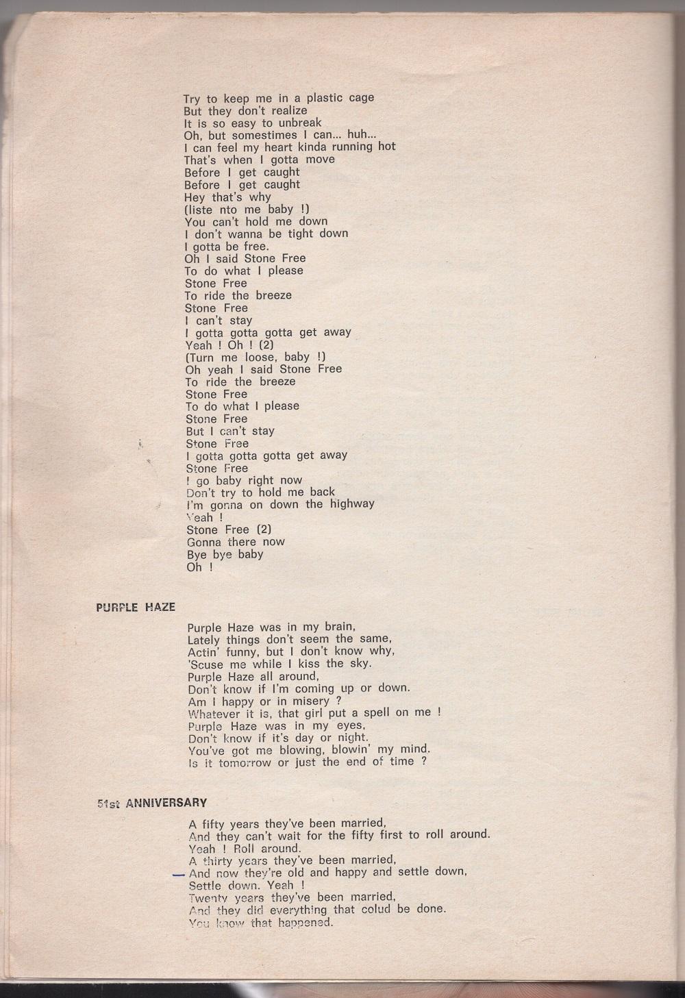 Curio Francais... Jimi Hendrix Songbook 1010