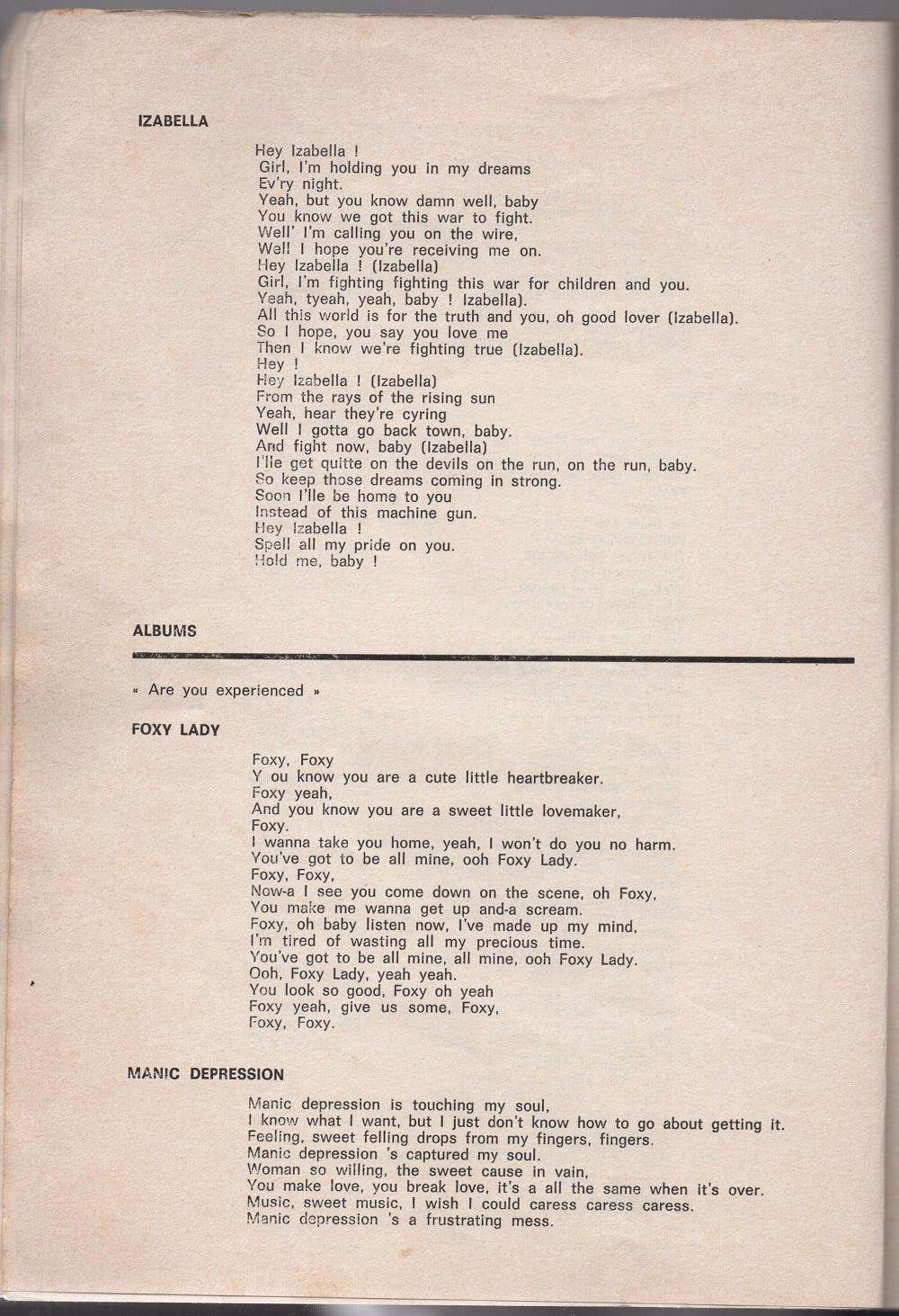 Curio Francais... Jimi Hendrix Songbook 1410