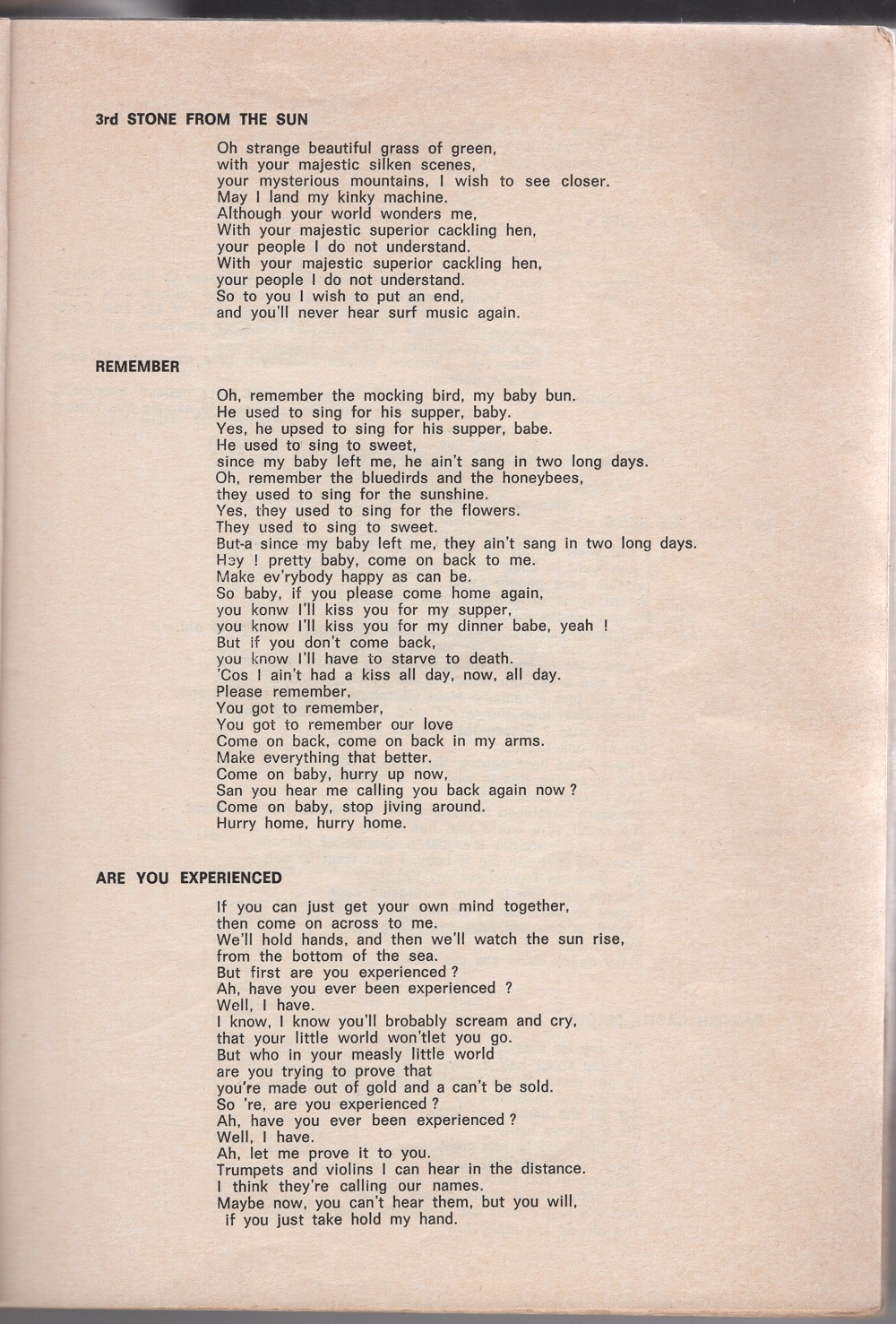 Curio Francais... Jimi Hendrix Songbook 1710