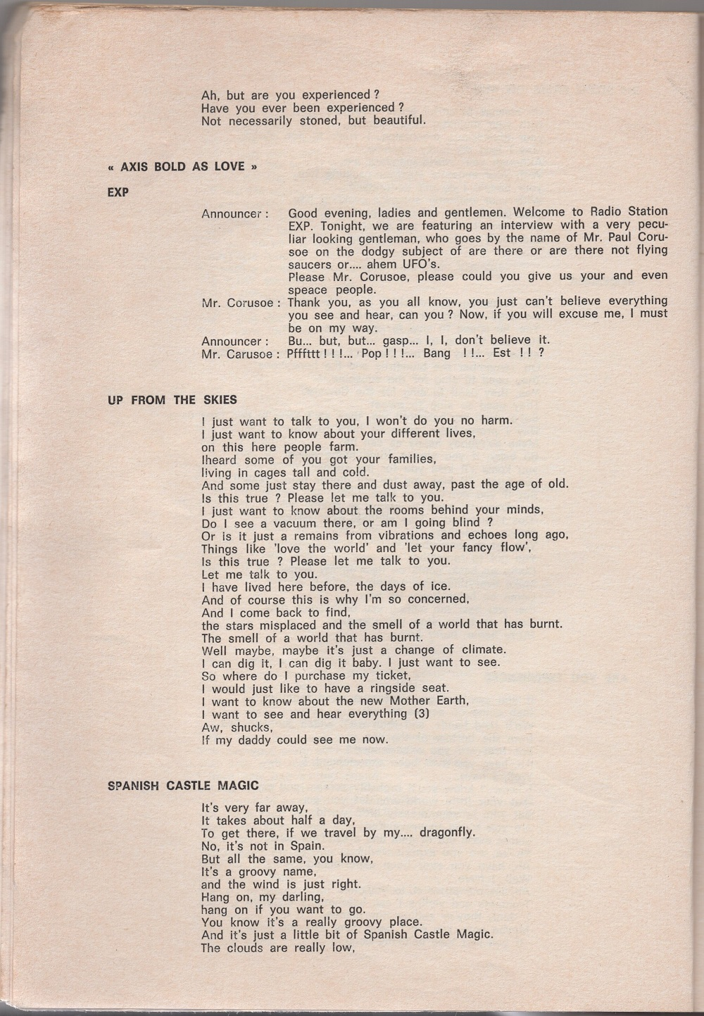 Curio Francais... Jimi Hendrix Songbook 1810